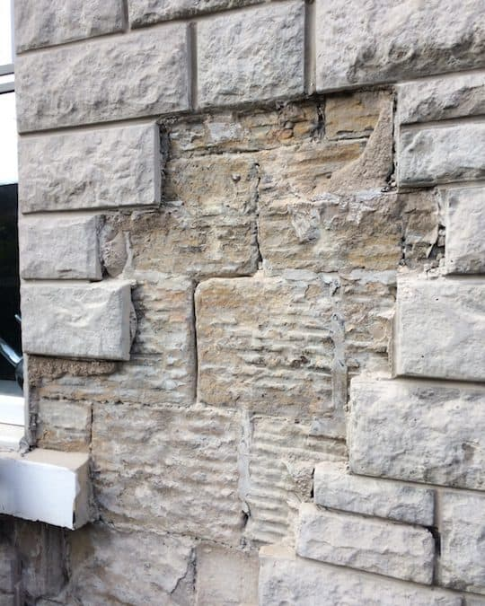 Stone cladding removal