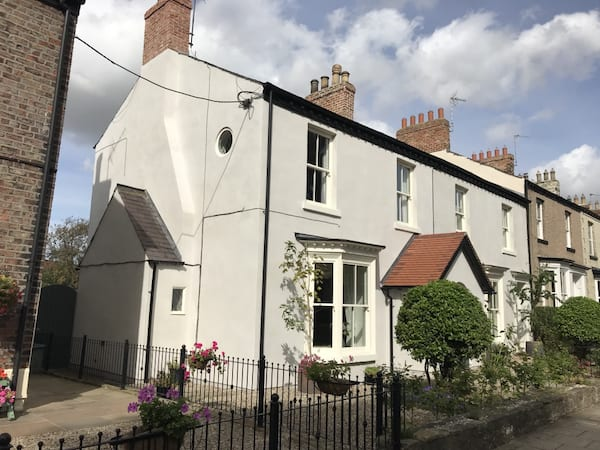 lime render in light grey colour
